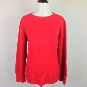 Talbots Sweater Wool Blend Womens Large Cable Red